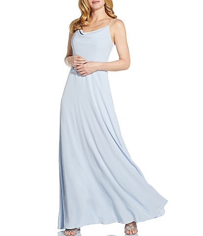 Adrianna Papell Cowl Neck Sleeveless Crepe A-Line Gown