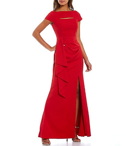 Adrianna Papell Crepe Cap Sleeve Draped Cascade Front Slit Long Gown