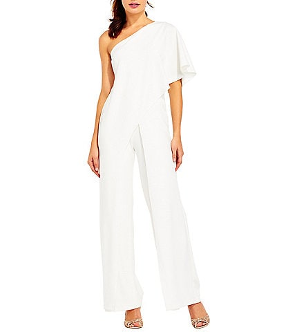 Adrianna Papell Crepe One Shoulder Jumpsuit