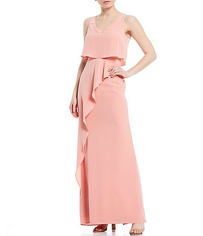 Adrianna Papell Crepe Popover V-Neck Sleeveless Ruffle Front Detail Gown