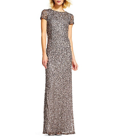 Adrianna Papell Crew Neck Short Sleeve Sequin Scoop Back Gown