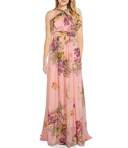 Adrianna Papell Criss Cross Halter Floral Chiffon Gown