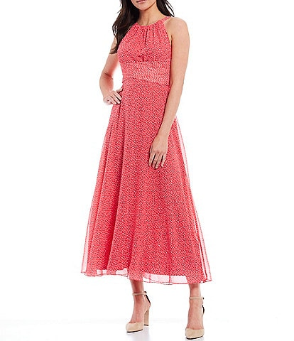 Adrianna Papell Dotted Sleeveless Bow Back A-Line Midi Dress