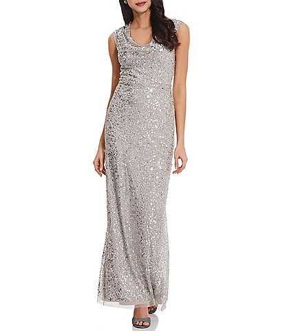 Adrianna Papell Drape Neck Back Slit Beaded Column Gown