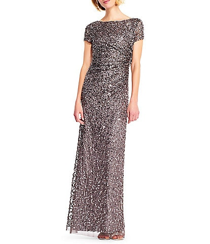 Adrianna Papell Draped Back Boat Neck Sequin A-Line Gown