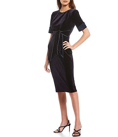 Adrianna Papell Elbow Sleeve Tie Front Stretch Velvet Midi Sheath Dress