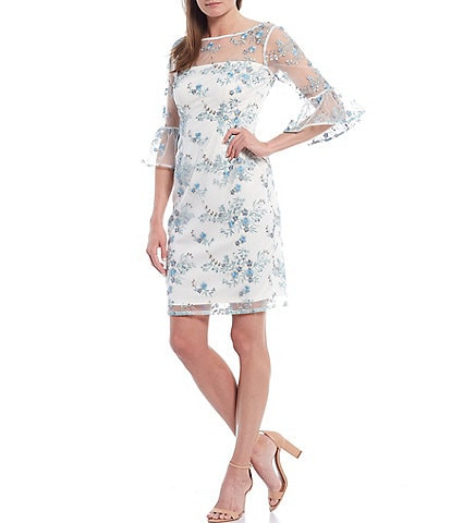 Adrianna Papell Embroidered Bell Sleeve Sheath Dress