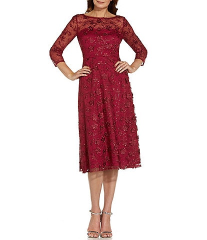 Adrianna Papell Embroidered Sheer Boat Neck 3/4 Sleeve A-Line Midi Dress
