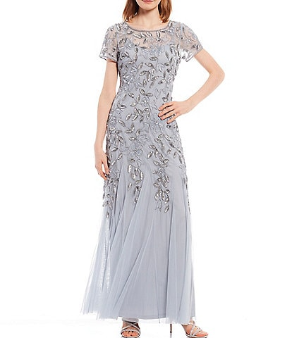 Adrianna Papell Short Sleeve Jewel Neck Floral Beaded Gown
