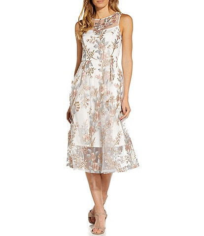 Adrianna Papell Jewel Neck Sleeveless Floral Embroidery Fit & Flare Midi Dress