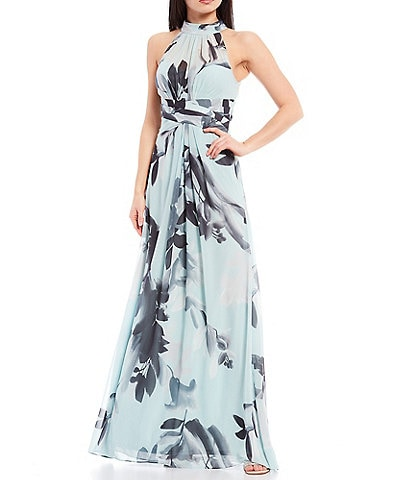 Adrianna Papell Floral Halter Sleeveless Chiffon Gown