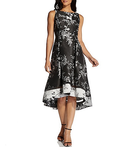 Adrianna Papell Floral Jacquard Hi-Low Dress