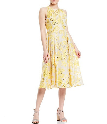 Adrianna Papell Floral Metallic Jacquard Sleeveless Midi Party Dress
