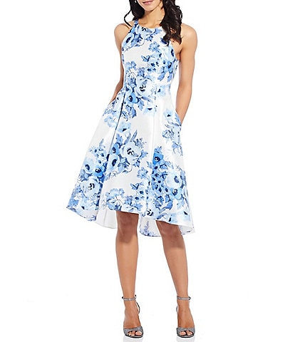 Adrianna Papell Floral Print Mikado Fit & Flare Sleeveless Dress