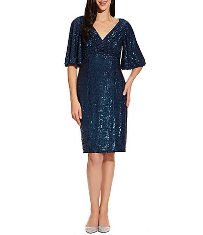 Adrianna Papell Flutter Sleeve Cross Front Sequin Dress