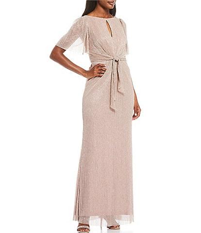 Adrianna Papell Flutter Sleeve Stardust Glitter Knit Gown