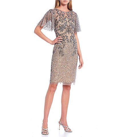 Adrianna Papell Flutter Sleeves Beaded Mesh Midi Dress