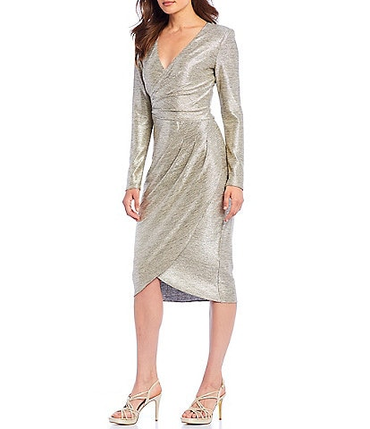 Adrianna Papell Foiled Jersey Pleated Detail Wrap Dress