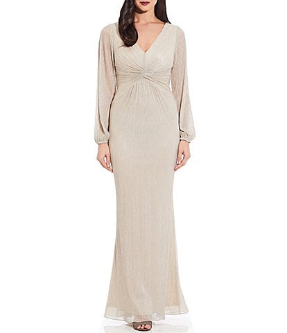 Adrianna Papell Glitter Metallic Knit Twist Front Long Sleeve Draped Gown
