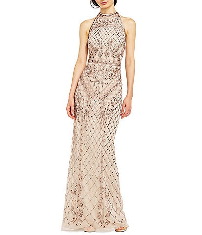 Adrianna Papell Halter Neck Beaded Column Gown