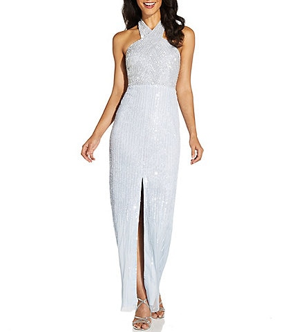 Adrianna Papell Halter Neck Sleeveless Beaded Column Gown