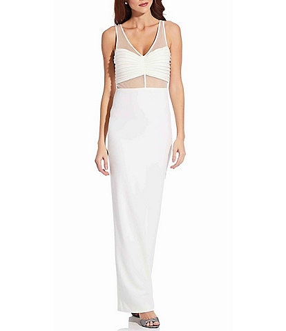 Adrianna Papell Illusion Crepe V-Neck Sleeveless Column Gown