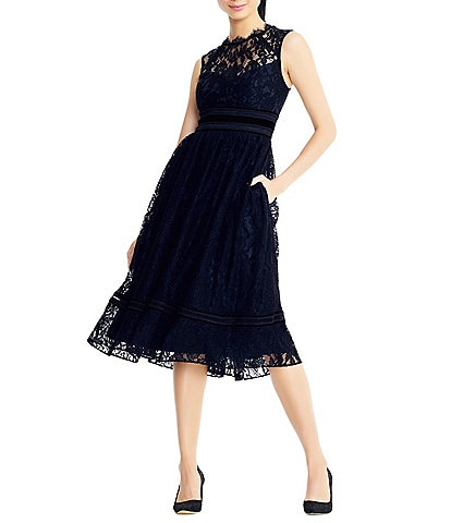 Adrianna Papell Illusion Lace Midi Gown