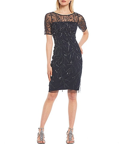 Adrianna Papell Illusion Neck Beaded Cocktail Dress