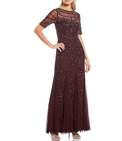 Adrianna Papell Illusion Neck Beaded Mesh Elbow Sleeve Mermaid Gown