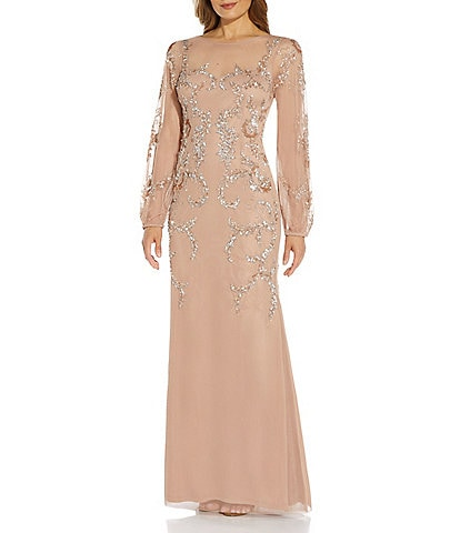 Adrianna Papell Illusion Round Neck Beaded Sheer Balloon Long Sleeve Gown