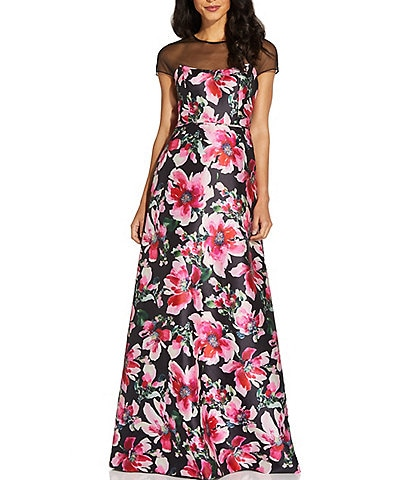Adrianna Papell Illusion Neck Cap Sleeve Floral Mikado Ball Gown