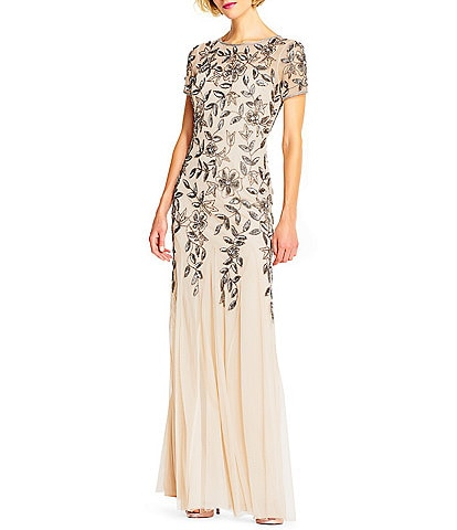 Adrianna Papell Illusion Neck Short Sleeve Floral Beaded Mermaid Gown