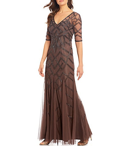 Adrianna Papell Illusion Sleeve Beaded Mesh Godet Detail Gown
