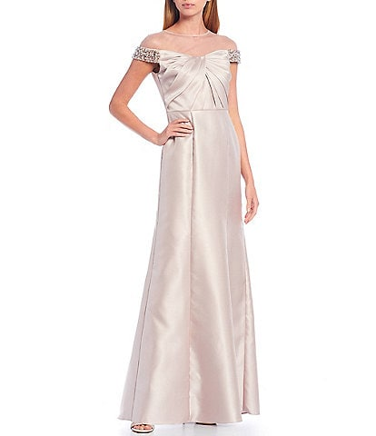 Adrianna Papell Illusion Yoke Cap Sleeve Beaded Mikado Mermaid Gown
