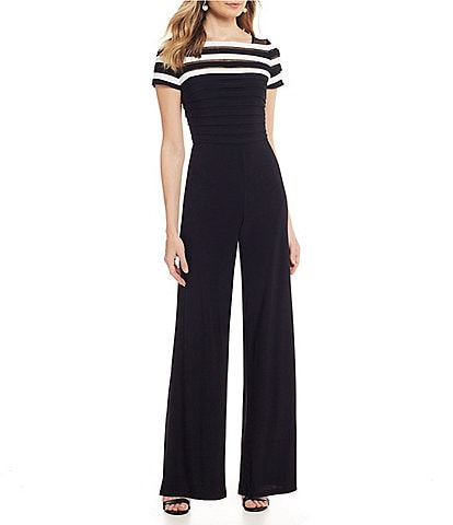 Adrianna Papell Jersey Color Blocked Short Sleeve Wide Leg Jumpsuit