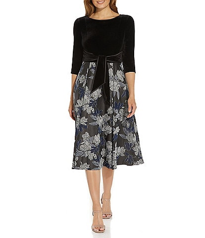 Adrianna Papell Round Neck 3/4 Sleeve Velvet Bodice Floral Jacquard Midi Dress