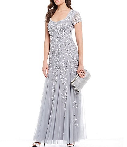 Adrianna Papell Jewel Neck Beaded Godet Gown