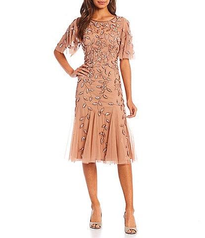 Adrianna Papell Jewel Neck Short Flutter Sleeve Floral Beaded Sheath Midi Dress