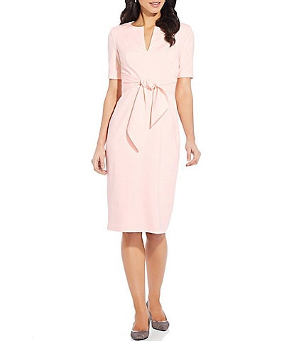 Adrianna Papell Knit Crepe Split Neck Tie Sheath Dress