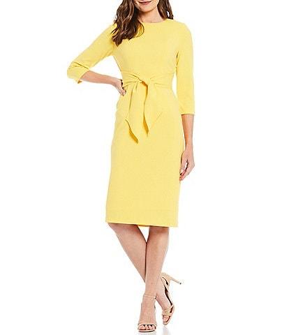 Adrianna Papell Stretch Crepe Knit Tie Waist 3/4 Sleeve Midi Sheath Dress