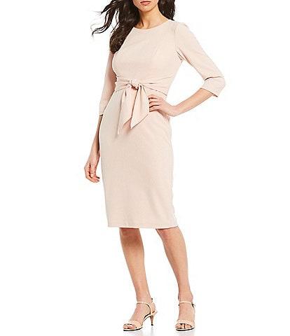 Adrianna Papell Stretch Crepe Knit Tie Waist Midi Length Sheath Dress