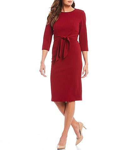 Adrianna Papell Stretch Crepe Knit Tie Waist 3/4 Sleeve Midi Sheath Dress