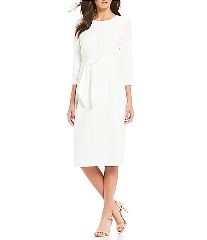 Adrianna Papell Knit Crepe Tie Waist Midi Sheath Dress