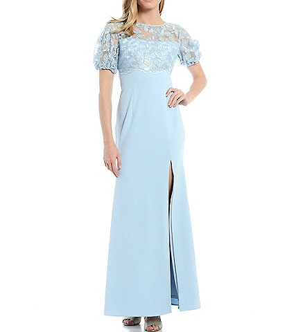 Adrianna Papell Lace Bodice & Balloon Sleeve Stretch Crepe Gown
