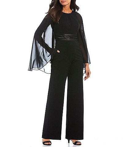 Adrianna Papell Long Capelet Sleeve Satin Waist Jumpsuit