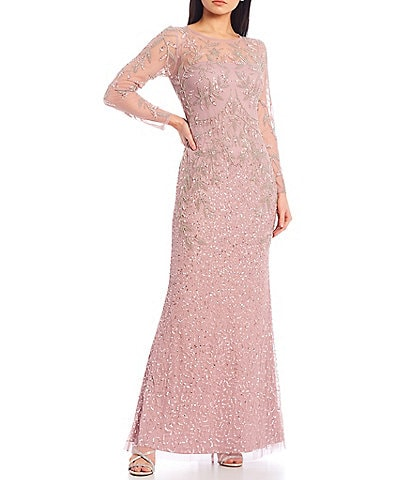 Adrianna Papell Long Illusion Sleeve Beaded Mesh Sequin Mermaid Gown