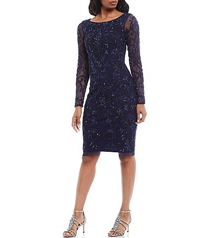 Adrianna Papell Long Lace Sleeve Beaded Sheath Dress