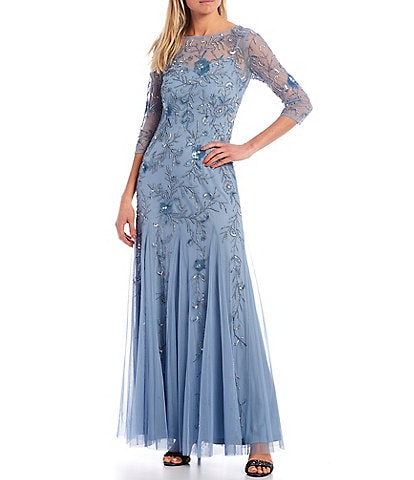 Adrianna Papell Long Sleeve Beaded Godet Gown