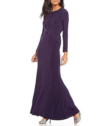 Adrianna Papell Long Sleeve Jersey Gown