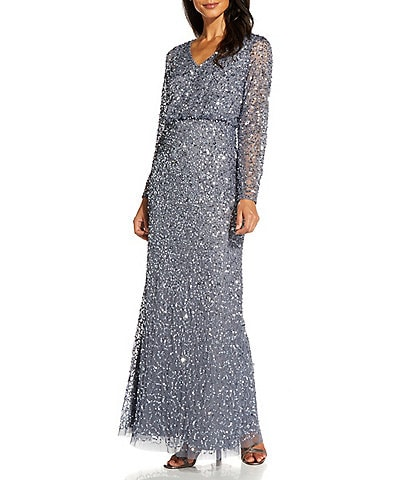 Adrianna Papell Long Sleeve Sequin Blouson Gown
